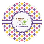 Girls Astronaut Round Decal (Personalized)