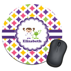 Girls Astronaut Round Mouse Pad (Personalized)