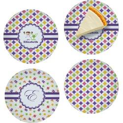 "Girls Astronaut Set of 4 Glass Appetizer / Dessert Plate 8"" (Personalized)"