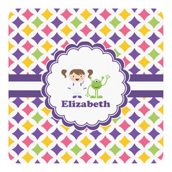 Girls Astronaut Square Decal - Custom Size (Personalized)