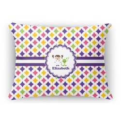 Girls Astronaut Rectangular Throw Pillow Case (Personalized)