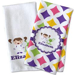 Girls Astronaut Waffle Weave Kitchen Towel (Personalized)