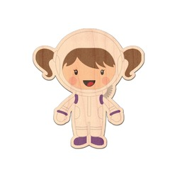 Girls Astronaut Genuine Wood Sticker (Personalized)
