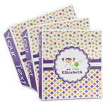 Girl's Space & Geometric Print 3-Ring Binder (Personalized)