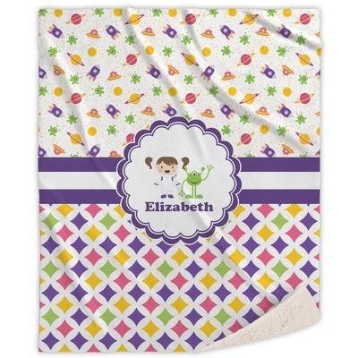 Girl's Space & Geometric Print Sherpa Throw Blanket (Personalized)
