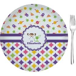 Girl's Space & Geometric Print Glass Appetizer / Dessert Plates 8