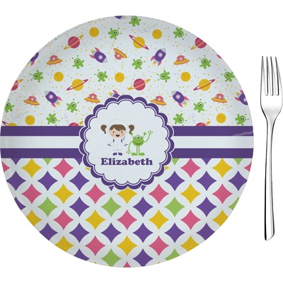 """Girl's Space & Geometric Print 8"""" Glass Appetizer / Dessert Plates - Single or Set (Personalized)"""
