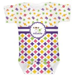 Girl's Space & Geometric Print Baby Bodysuit (Personalized)