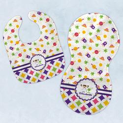 Girl's Space & Geometric Print Baby Bib & Burp Set w/ Name or Text