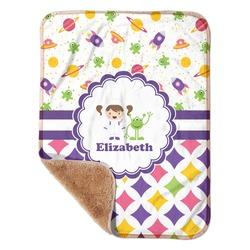 "Girl's Space & Geometric Print Sherpa Baby Blanket 30"" x 40"" (Personalized)"