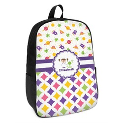 Girl's Space & Geometric Print Kids Backpack (Personalized)