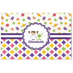 Girl's Space & Geometric Print Woven Mat (Personalized)