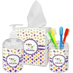Girl's Space & Geometric Print Acrylic Bathroom Accessories Set w/ Name or Text