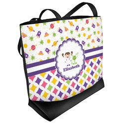 Girl's Space & Geometric Print Beach Tote Bag (Personalized)