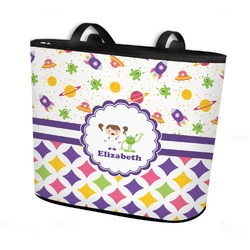 Girl's Space & Geometric Print Bucket Tote w/ Genuine Leather Trim (Personalized)