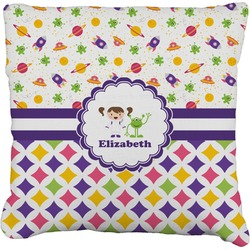 """Girl's Space & Geometric Print Faux-Linen Throw Pillow 26"""" (Personalized)"""