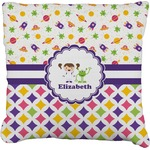 Girl's Space & Geometric Print Faux-Linen Throw Pillow (Personalized)