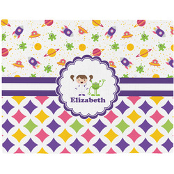 Girl's Space & Geometric Print Placemat (Fabric) (Personalized)