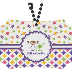 Girl's Space & Geometric Print Rear View Mirror Ornament (Personalized)