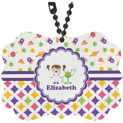 Girl's Space & Geometric Print Rear View Mirror Decor (Personalized)