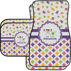 Girl's Space & Geometric Print Car Floor Mats Set - 2 Front & 2 Back (Personalized)