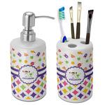 Girl's Space & Geometric Print Ceramic Bathroom Accessories Set (Personalized)