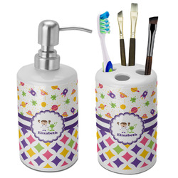 Girl's Space & Geometric Print Bathroom Accessories Set (Ceramic) (Personalized)