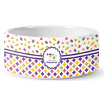 Girl's Space & Geometric Print Ceramic Dog Bowl (Personalized)