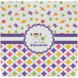Girl's Space & Geometric Print Ceramic Tile Hot Pad (Personalized)