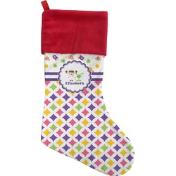 Girl's Space & Geometric Print Christmas Stocking (Personalized)