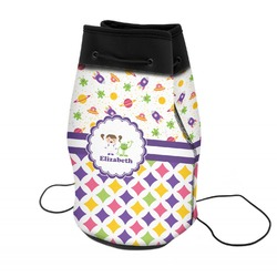 Girl's Space & Geometric Print Neoprene Drawstring Backpack (Personalized)