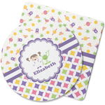 Girl's Space & Geometric Print Rubber Backed Coaster (Personalized)