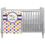 Girl's Space & Geometric Print Crib Comforter / Quilt (Personalized)