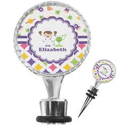 Girl's Space & Geometric Print Wine Bottle Stopper (Personalized)