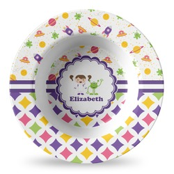 Girl's Space & Geometric Print Plastic Bowl - Microwave Safe - Composite Polymer (Personalized)