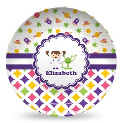 Girl's Space & Geometric Print Microwave Safe Plastic Plate - Composite Polymer (Personalized)