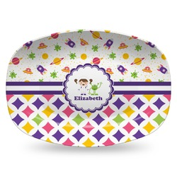Girl's Space & Geometric Print Plastic Platter - Microwave & Oven Safe Composite Polymer (Personalized)
