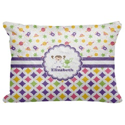 "Girl's Space & Geometric Print Decorative Baby Pillowcase - 16""x12"" (Personalized)"