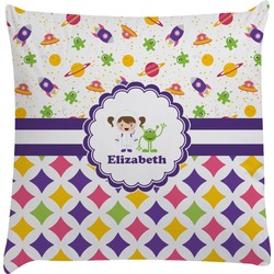 Girl's Space & Geometric Print Decorative Pillow Case (Personalized)