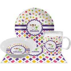 Girl's Space & Geometric Print Dinner Set - 4 Pc (Personalized)