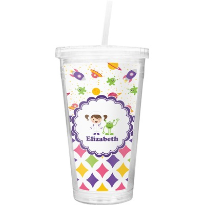 Girl's Space & Geometric Print Double Wall Tumbler with Straw (Personalized)