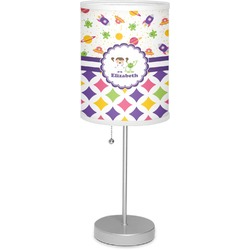 """Girl's Space & Geometric Print 7"""" Drum Lamp with Shade (Personalized)"""