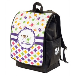 Girl's Space & Geometric Print Backpack w/ Front Flap  (Personalized)