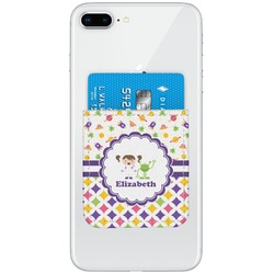 Girl's Space & Geometric Print Genuine Leather Adhesive Phone Wallet (Personalized)