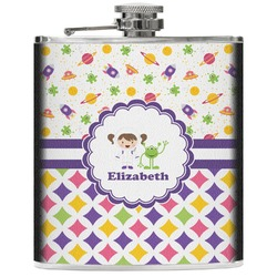 Girl's Space & Geometric Print Genuine Leather Flask (Personalized)