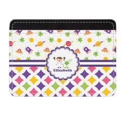 Girl's Space & Geometric Print Genuine Leather Front Pocket Wallet (Personalized)