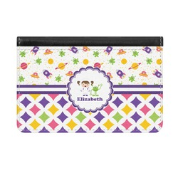 Girl's Space & Geometric Print Genuine Leather ID & Card Wallet - Slim Style (Personalized)