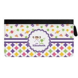 Girl's Space & Geometric Print Genuine Leather Ladies Zippered Wallet (Personalized)