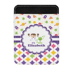 Girl's Space & Geometric Print Genuine Leather Money Clip (Personalized)