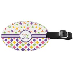 Girl's Space & Geometric Print Genuine Leather Luggage Tag (Personalized)